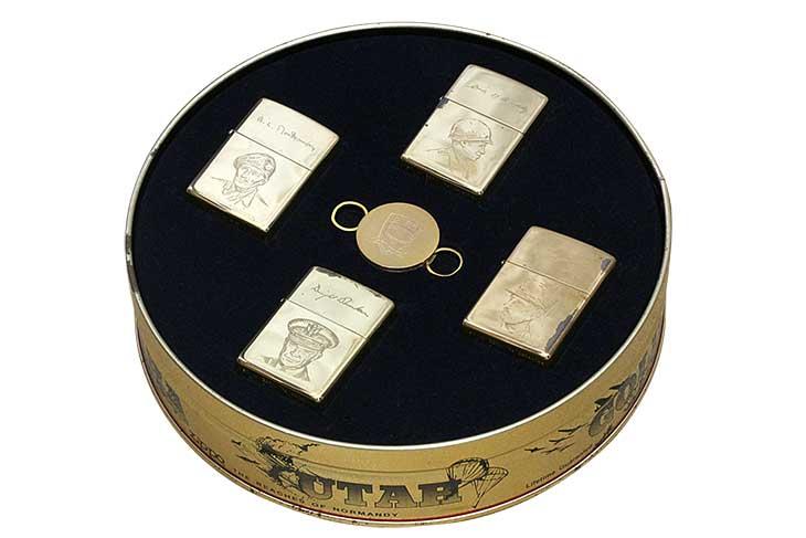 Zippo ジッポー 絶版・1993-1994年製造 メッキ剥がれあり D-DAY NORMANDY 50 YEARS 1944-1994 ノルマンディ50周年記念 4個セット キーリング付き