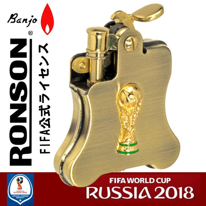 ロンソンオイルライターバンジョー 2018FIFA ワールドカップロシア限定トロフィーメタル アンティークブラス画像