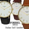 腕時計 メンズ FORBEL イタリアンレザー カーフレザーベルト×ホワイトフェイス画像