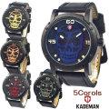 KADEMAN(ケイドマン) メンズ腕時計 スカルウォッチシリーズ 3気圧防水 牛革ベルト KA001画像