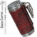 携帯灰皿 SIMON CARTER サイモンカーター 本革巻き アッシュシリンダー  ペイズリーワイン画像