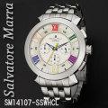 腕時計メンズ サルバトーレマーラ クロノグラフ 立体インデックス メタルバンドSM14107-SSWHCL画像