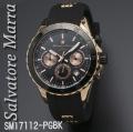 腕時計メンズ サルバトーレマーラ クロノグラフ ラバーベルト SM17112-PGBK画像