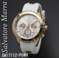 腕時計メンズ サルバトーレマーラ クロノグラフ ラバーベルト SM17112-PGWH画像