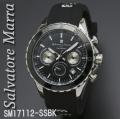 腕時計メンズ サルバトーレマーラ クロノグラフ ラバーベルト SM17112-SSBK画像