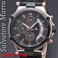 サルバトーレマーラ メンズ 腕時計 10気圧 クロノグラフ 革ベルトPGBK画像