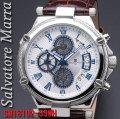 サルバトーレマーラ メンズ 腕時計 10気圧 クロノグラフ 革ベルトSSWH画像
