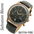 腕時計メンズ サルバトーレマーラ クロノグラフ 革ベルト 5気圧防水SM19106-PGBK画像
