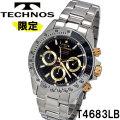 腕時計 メンズ テクノス クロノグラフ10気圧防水ステンレスT4683LB画像