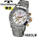 腕時計 メンズ テクノス クロノグラフ10気圧防水ステンレスT4683LW画像