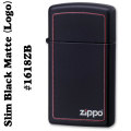 zippo(ジッポーライター)1618 BLACK MATTE SLIM(ブラックマットスリム)ZIPPOロゴライン入り #1618ZB画像