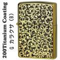 zippo(ジッポーライター)200 ゴールドチタンコーティング カラクサメタル貼り(B) Gタンク画像