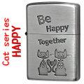 zippo(ジッポーライター 猫) HAPPY キャットデザイン ニッケル 古美仕上げ画像