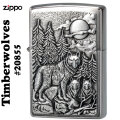 ZIPPO/Brushed Chrome Emblem Atached Timberwolves(狼) #20855画像