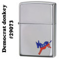 zippo(ジッポーライター)#29073 the traditional Democrat donkey High Polish Chrome画像