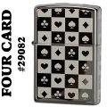 zippo(ジッポーライター)The four card Suits #29082 Black Ice画像