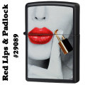 zippo(ジッポーライター) #29089 Red Lips & Padlock Black Matte画像