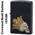 zippo(ジッポーライター)Crowned Skull Emblem #29100 Black Matte画像