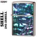 ZIPPO(ジッポー ライター )貝貼り ロゴ ニッケルメッキ 2NI-ZSHELL画像