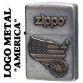 zippo(ジッポーライター)LOGO METAL AMERICA メタルプレート ユーズド加工画像