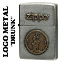 zippo(ジッポーライター)LOGO METAL DRUNK メタルプレート ユーズド加工画像