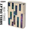 zippo(ジッポーライター)Shell InIay  銀メッキ エッチング 貝貼り ナチュラル/パール 2SSHELL-STBK画像