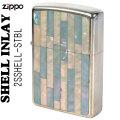 zippo(ジッポーライター)Shell InIay  銀メッキ エッチング 貝貼り ブルー/パール 2SSHELL-STBL画像