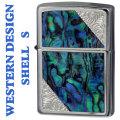 zippo ウエスタンデザイン 貝貼り加工メタル 2SW-SHELL メタルプレート貼り画像