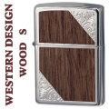 zippo(ジッポーライター)ウエスタンデザイン ウッド貼り加工メタル 2SW-WOOD メタルプレート貼り画像