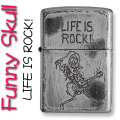 zippo(ジッポーライター)ファニースカル LIFE IS ROCK (人生はロックだ!) ユーズド加工 画像