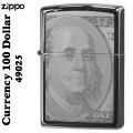 ZIPPO/100ドル札 (両面)レザー彫刻 #49025 ブラックアイス画像