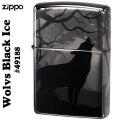 zippo(ジッポーライター)  Wolves(オオカミ) 360°(4面)レザー彫刻 #49188 ブラックアイス画像