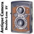 zippo ウッディー アンティーク カメラ 二眼カメラデザイン ウッド SV 銀 シルバーイブシ画像