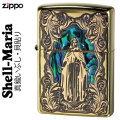 zippo(ジッポーライター)シェル(貝貼り)マリア 真鍮いぶし画像