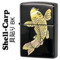 zippo(ジッポーライター)シェル 昇り鯉 天然貝貼り シェルカープ BK画像