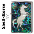 zippo(ジッポーライター)シェル・ホース貝貼り 跳馬 SV画像