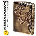 zippo 三面連続深彫りエッチング STREAM DORAGON A 真鍮古美仕上げG画像