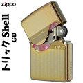 zippo(ジッポーライター)トリックシェルジッポ メタルプレート天然貝貼り ゴールド画像