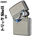 zippo(ジッポーライター)トリックシェルジッポ メタルプレート天然貝貼り シルバー 画像