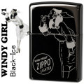 zippo(ジッポーライター)Windy-girl #1 Black Ice ウィンディ ブラックアイス US加工画像