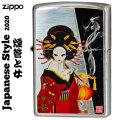 zippo(ジッポーライター) 和柄 煙管と女 シルバーいぶし画像