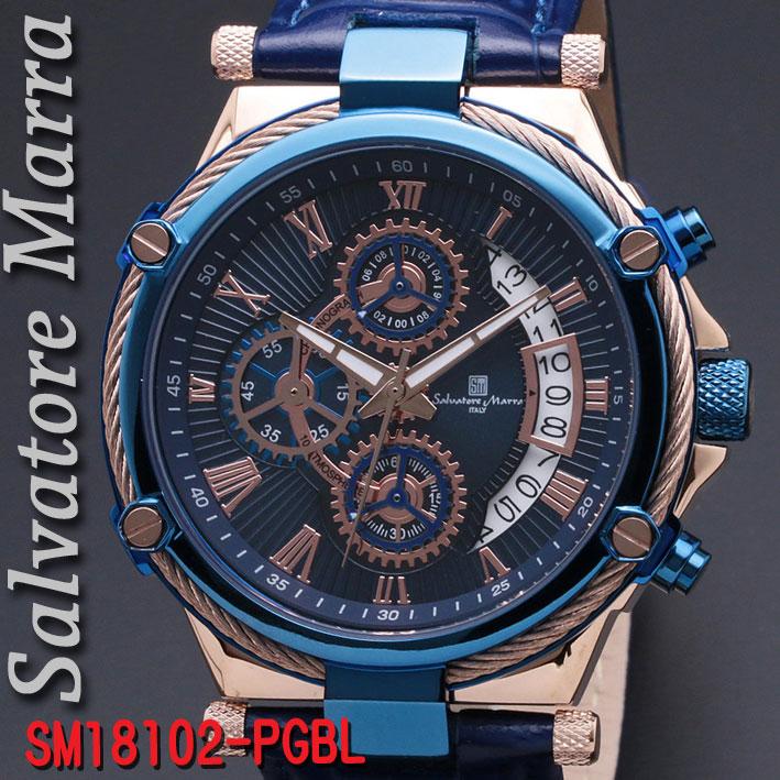 サルバトーレマーラ メンズ 腕時計 10気圧 クロノグラフ 革ベルトPGBL画像