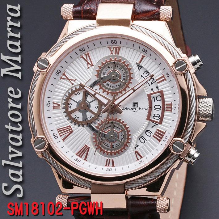 サルバトーレマーラ メンズ 腕時計 10気圧 クロノグラフ 革ベルトPGWH画像