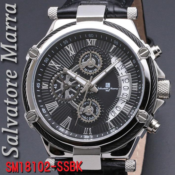 サルバトーレマーラ メンズ 腕時計 10気圧 クロノグラフ 革ベルトSSBK画像