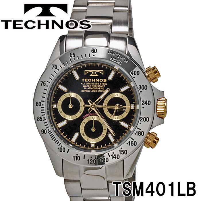 TECHNOS SWISS 腕時計 メンズ テクノス クロノグラフ10気圧防水ステンレス TSM401LB画像