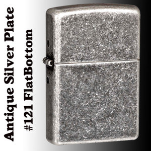 zippo Antique Silver Plate 121 Flat Bottom 銀古美仕上げ アンティークシルバープレート画像