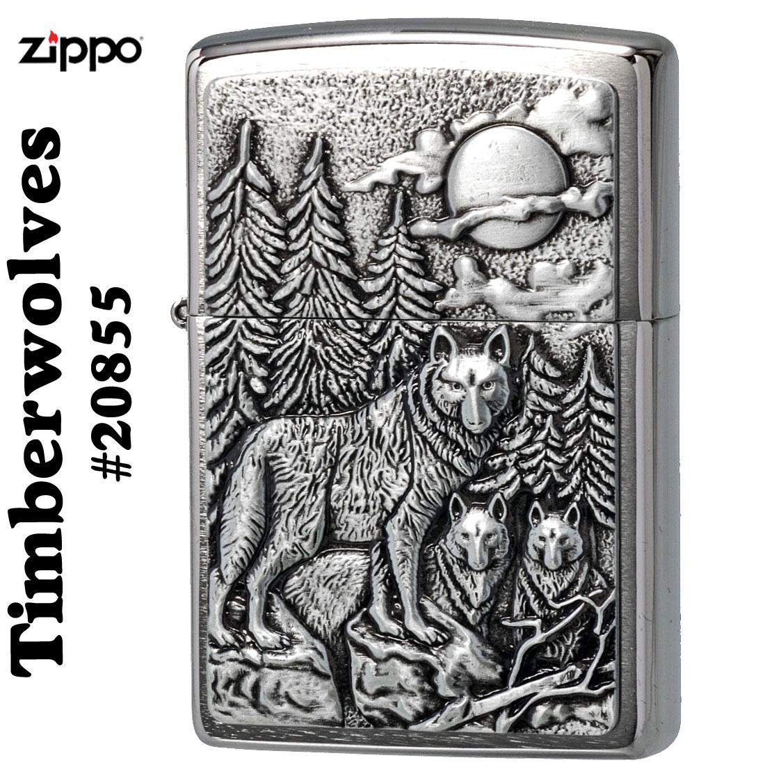 ZIPPO/Brushed Chrome Emblem Atached Timberwolves(狼) #20855画像