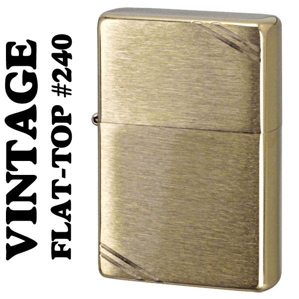 【ZIPPO】ジッポーライター 1937 フラットトップビンテージ ブラッシュブラス (ラインあり) #240 画像