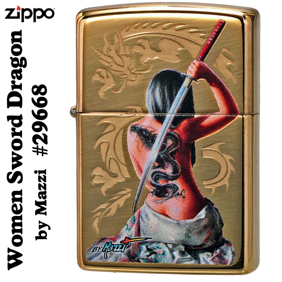 zippo(ジッポーライター)Women Sword Dragon by Mazzzi ハイポリッシュブラス #29668画像