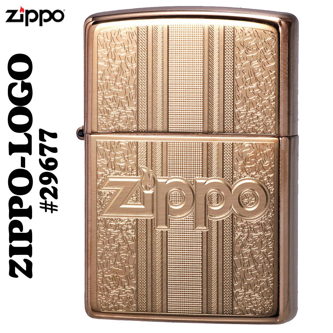 ZIPPO(ジッポーライター)  Logo Pattern ハイポリッシュ・ブラス #29677画像